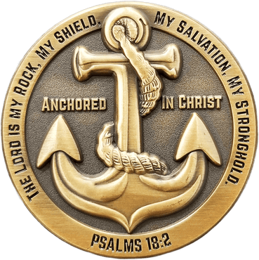 Antique Gold Plated Christian Challenge Coin, Anchored in Christ, Graduation Gift,