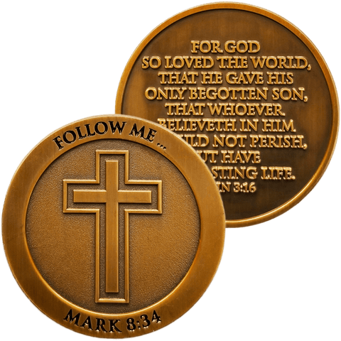 front and back of Follow Me Antique Gold Plated Christian Challenge Coin