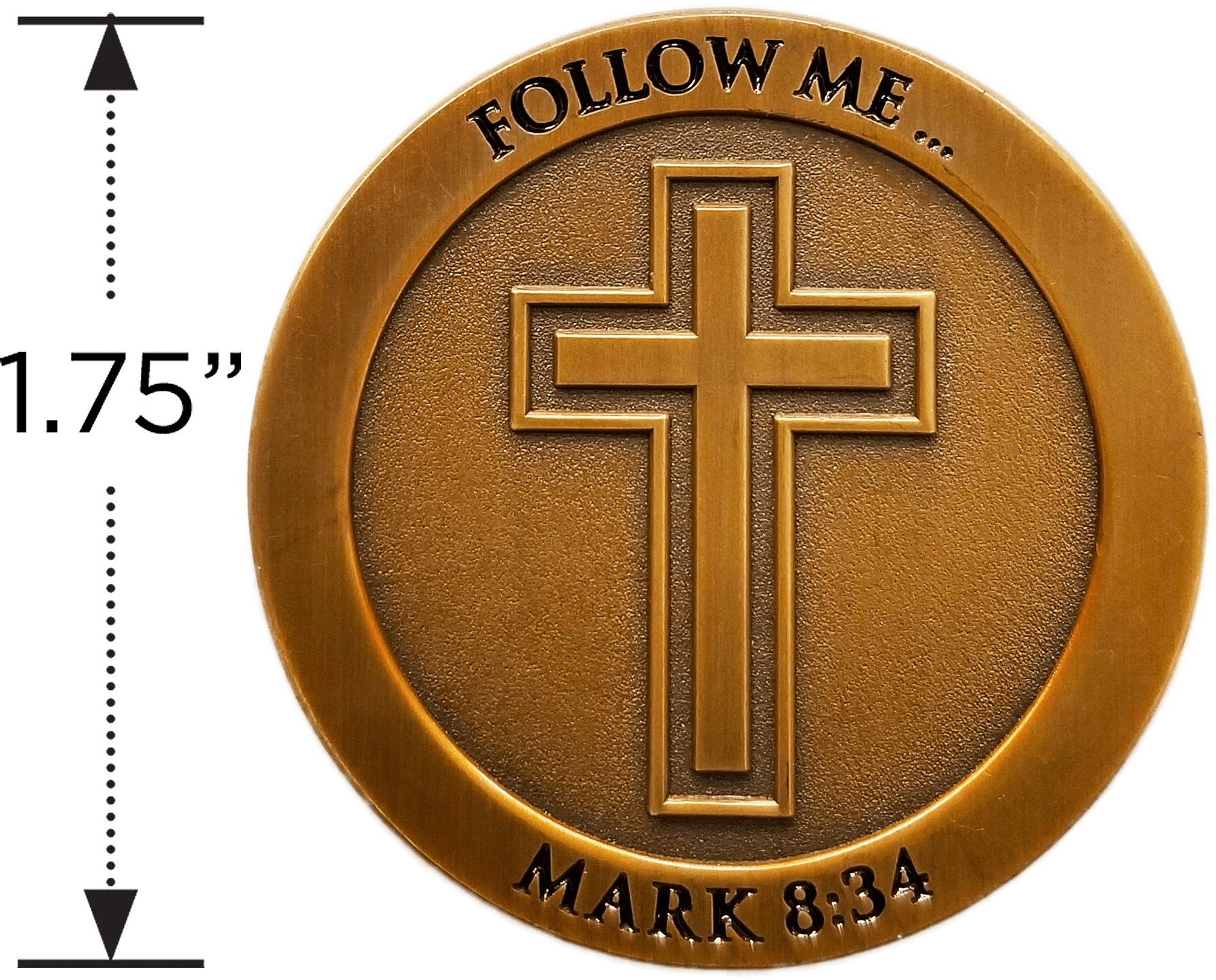 Follow Me Antique Gold Plated Christian Challenge Coin measured to show size diameter