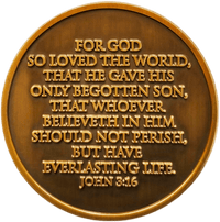 "Antique Gold Plated Christian Challenge Coin, Follow Me, ""For God So Loved the World"" - John 3:16 - Logos Trading Post, Christian Gift"