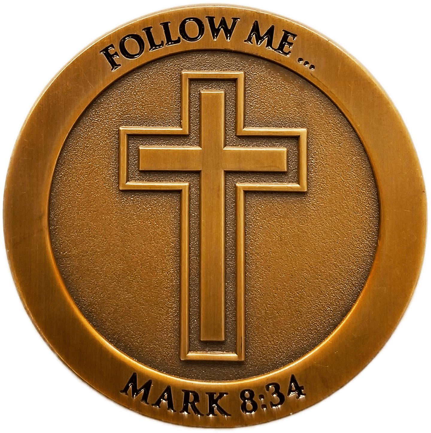 "Front: Cross, with text, ""Follow Me..."" / ""Mark 8:34"""