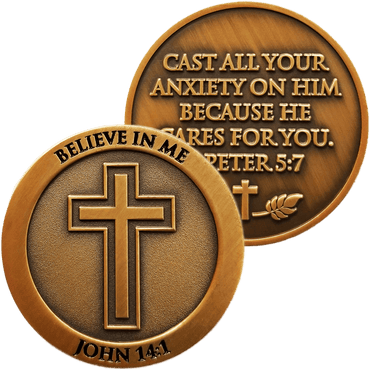 "Antique Gold Plated Christian Challenge Coin, Don't Be Anxious, ""He Cares For You"" - 1 Peter 5:7 - Logos Trading Post, Christian Gift"