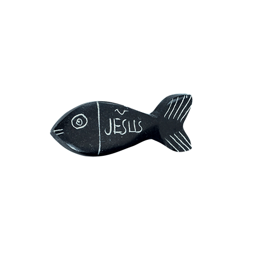 Holy Land Hand-Carved Serpentine Stone Pocket Fish, Jesus