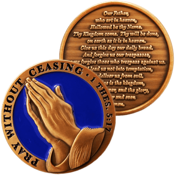 The Lord's Prayer Antique Gold Plated Christian Challenge Coin -  Matthew 6:9-13