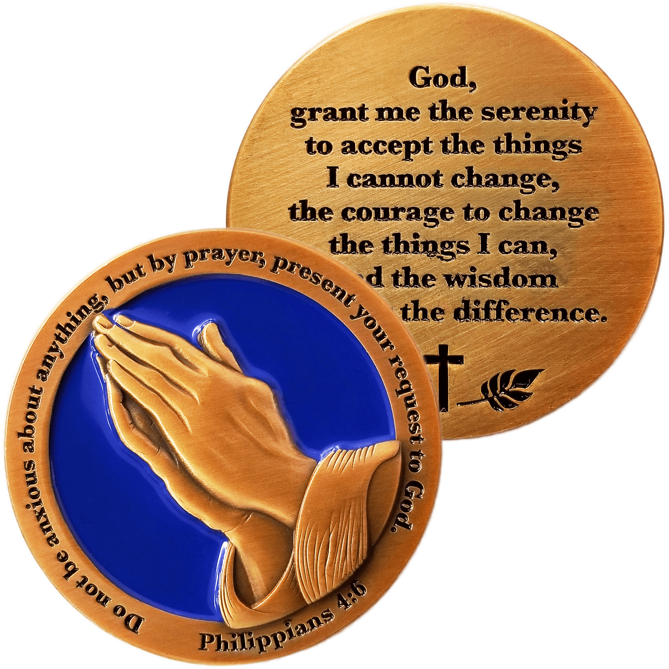 Front and back of Serenity Prayer Antique Gold Plated Christian Challenge Coin