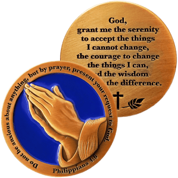 Serenity Prayer Antique Gold Plated Christian Challenge Coin - Philippians 4:6