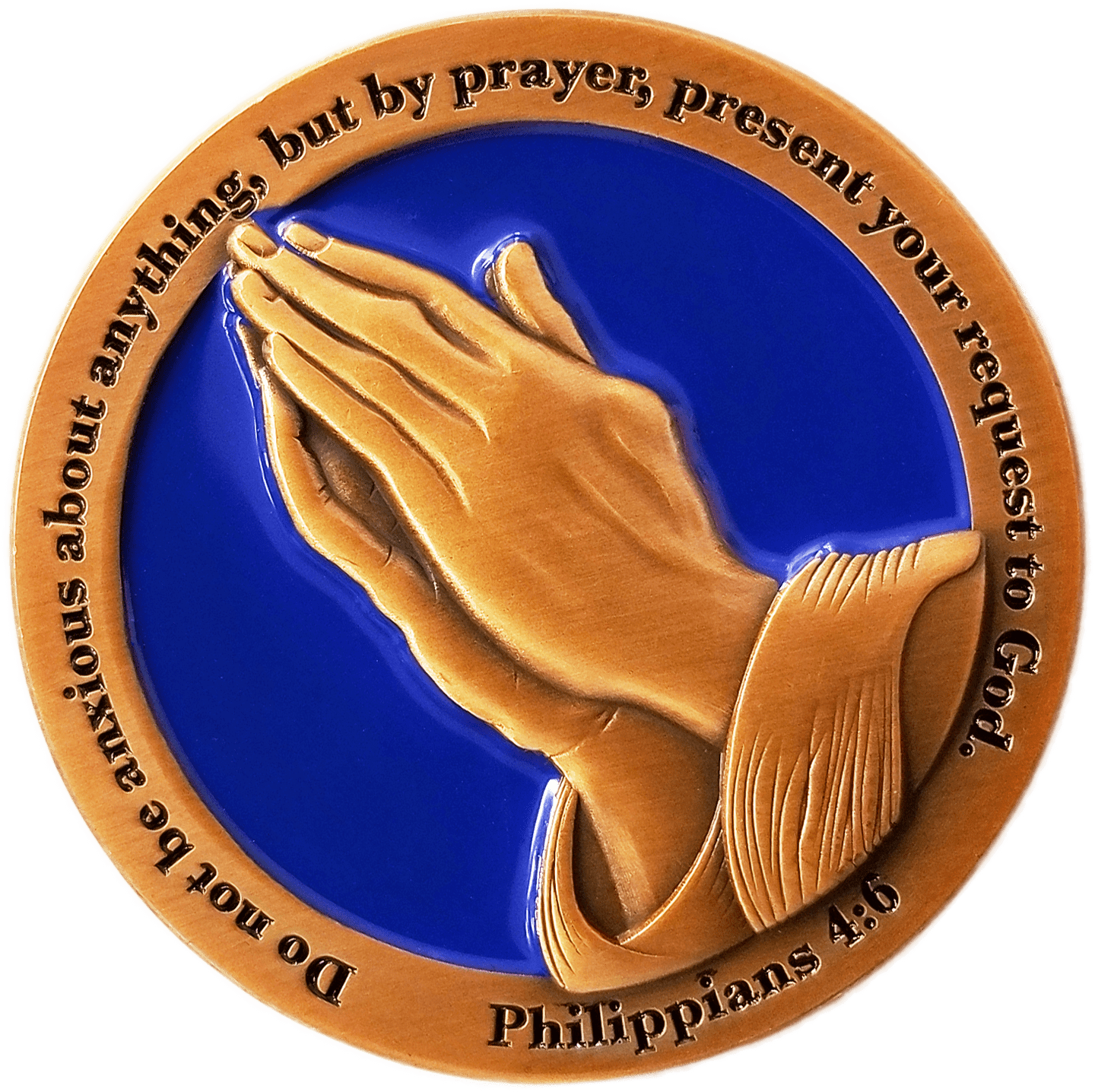 "Front: Praying hands, with text, ""Do not be anxious about anything, but by prayer, present your request to God."" / ""Philippians 4:6"""