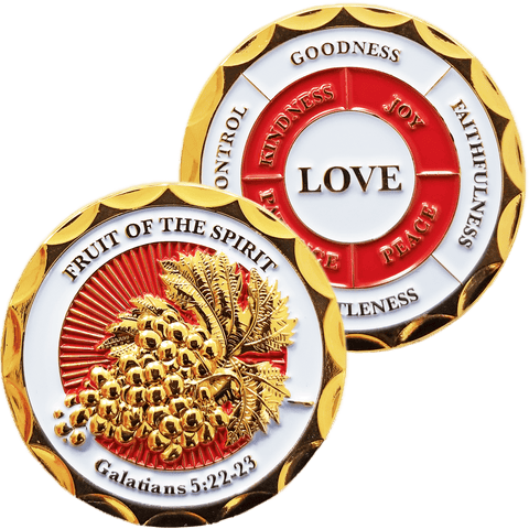 Gold Plated Christian Challenge Coin, Fruit of the Spirit, Galatians 5:22-23 - Logos Trading Post, Christian Gift