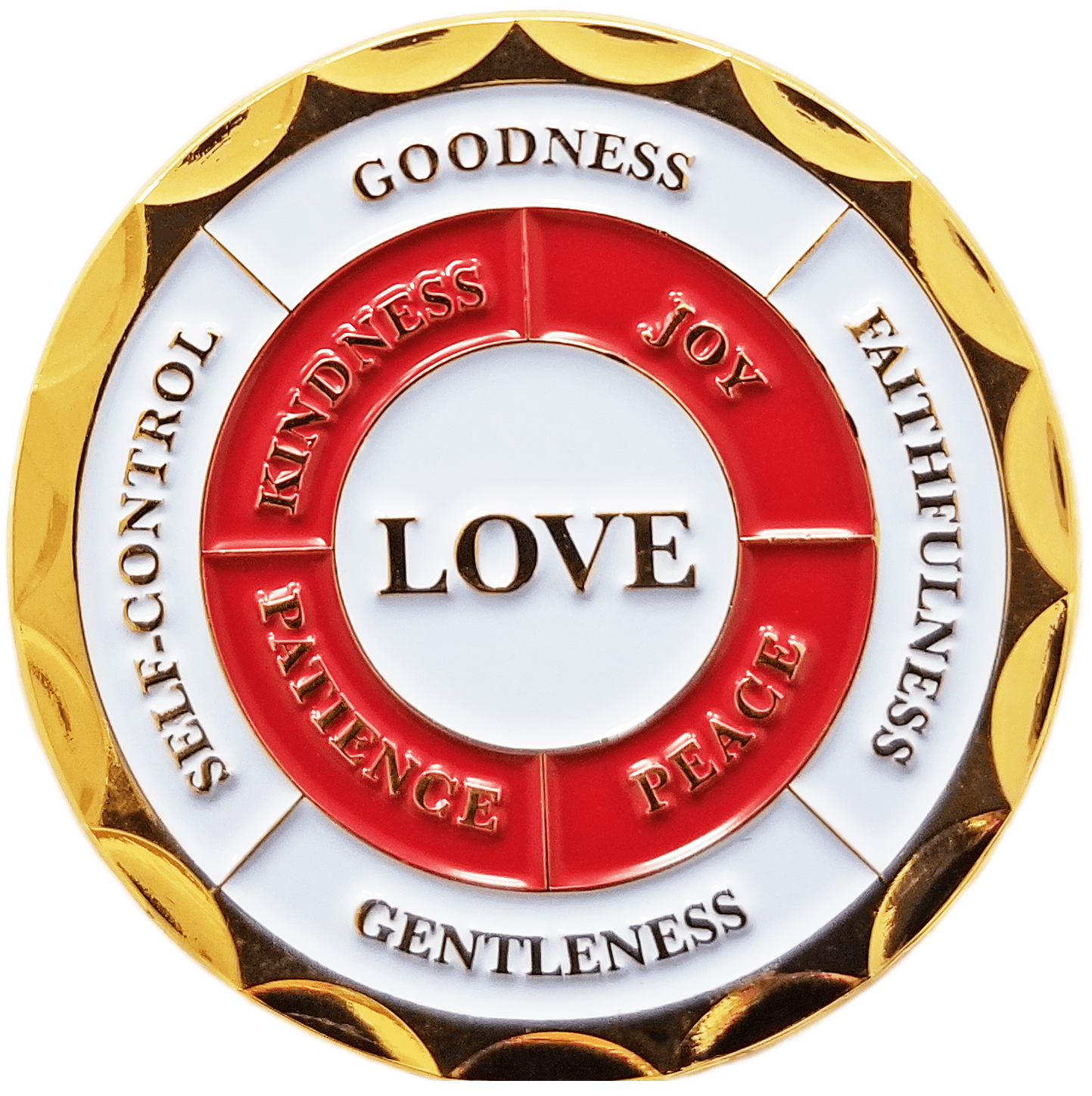 "Back: ""Love"" / ""Joy"" / ""Peace"" / ""Patience"" / ""Kindness"" / ""Goodness"" / ""Faithfulness"" / ""Gentleness"" / ""Self-Control"""
