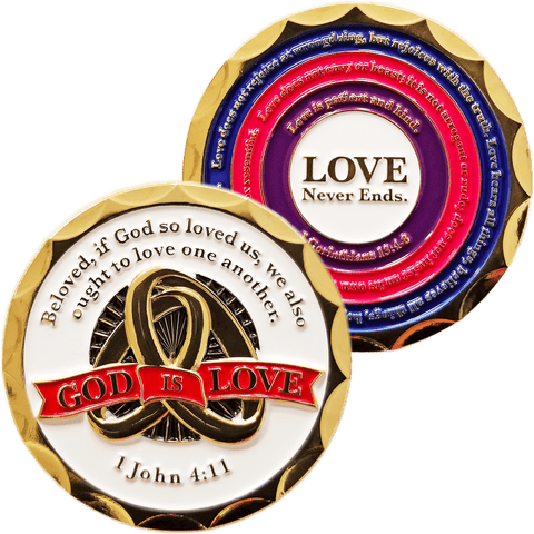 Front and back of God is Love Gold Plated Christian Challenge Coin
