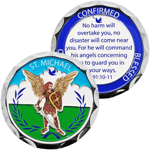 "Christian Challenge Coin, St. Michael, ""No Harm Will Overtake You"" - Psalm 91:10-11 - Logos Trading Post, Christian Gift"