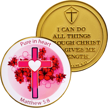 Ladies Purity Gold Plated Christian Challenge Coin - Matthew 5:8