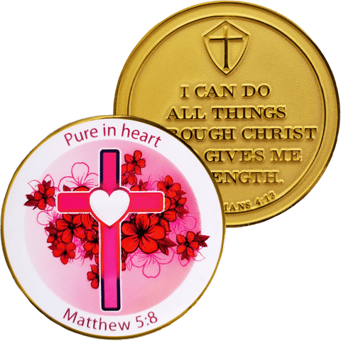 Front and back of Ladies Purity Coin Gold Plated Christian Challenge Coin