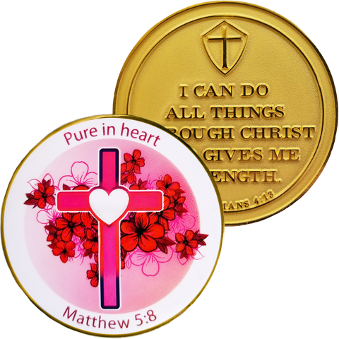 "Front and back of ""Pure in Heart"" Gold Plated Challenge Coin"
