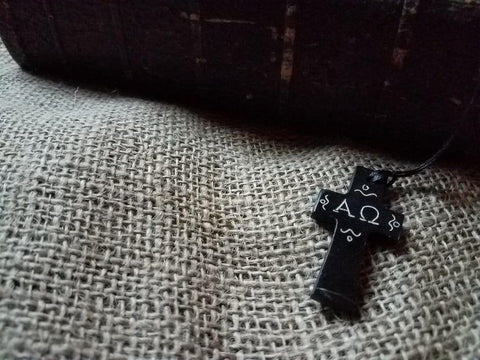 Cross Necklace - Alpha and Omega - Logos Trading Post, Christian Gift