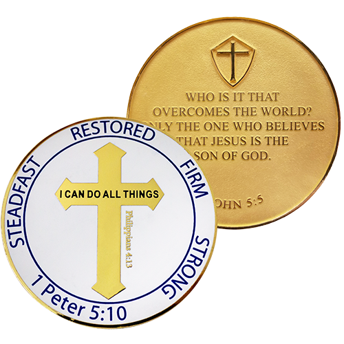 Front and back of Men's Purity Coin Gold Plated Christian Challenge Coin