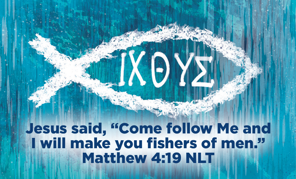 Children and Youth, Pass Along Scripture Cards, Christian Fish, ICHTHUS, Come follow me, Matthew 4:19, Pack of 25 - Logos Trading Post, Christian Gift