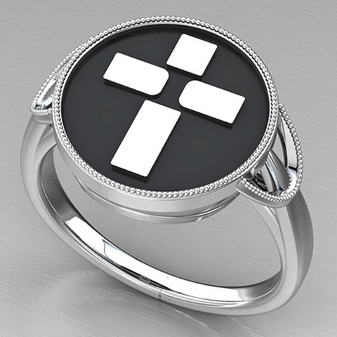 Logos Jewelry - In His Image Sterling Silver Cross Ring (Ladies)