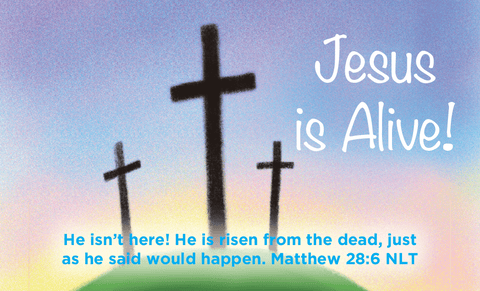 Easter, Pass Along Scripture Cards, Easter, Jesus is Alive (Calvary), Matthew 28:6, Pack of 25 - Logos Trading Post, Christian Gift