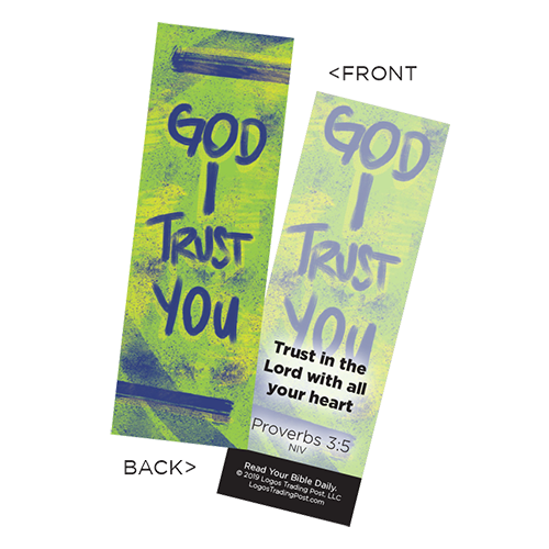 Children's Christian Bookmark, God I Trust You, Proverbs 3:5 - Pack of 25 - Christian Bookmarks