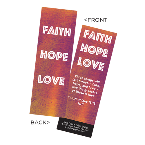 Children's Christian Bookmark, Faith Hope Love, 1 Corinthians 13:13 - Pack of 25