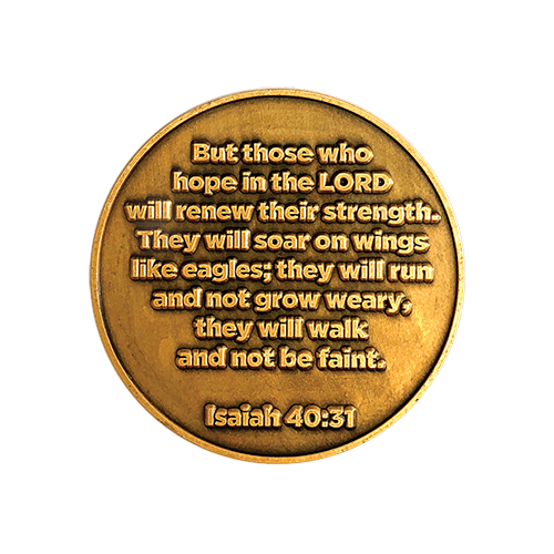 Christian Eagle Challenge Coin, Eagle Scouts Gifts, Antique Gold Plated, American Bald Eagle & Isaiah 40:31