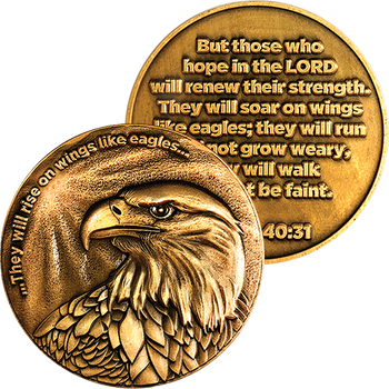 Christian Eagle Antique Gold Plated Challenge Coin - Isaiah 40:31