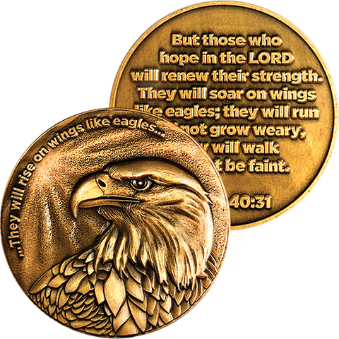 Front and back of Christian Eagle Antique Gold Plated Challenge Coin
