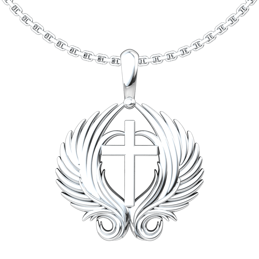 Angel Wings Cross Sterling Silver Pendant with 18 inch chain
