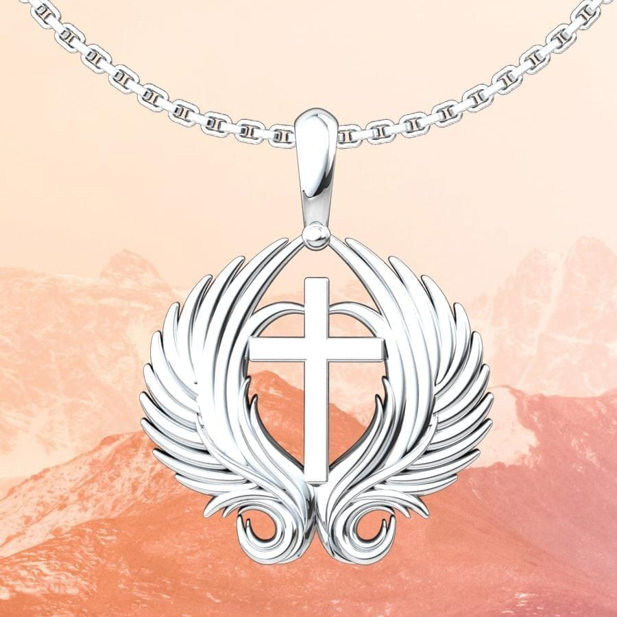 Angel Wings Cross Sterling Silver Pendant with orange mountain background