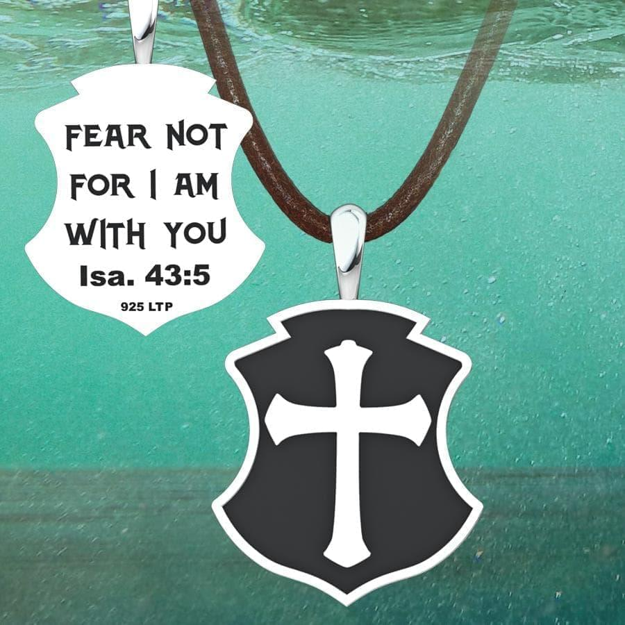 Men's Fear Not Sterling Silver Pendant on suede cord under water