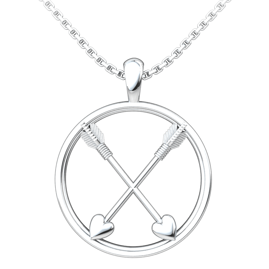Crossed Paths Friendship Sterling Silver Pendant with 18 inch chain