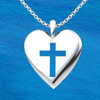 Logos Jewelry - Sterling Silver Simple Heart Cross Pendant - Logos Trading Post, Christian Gift