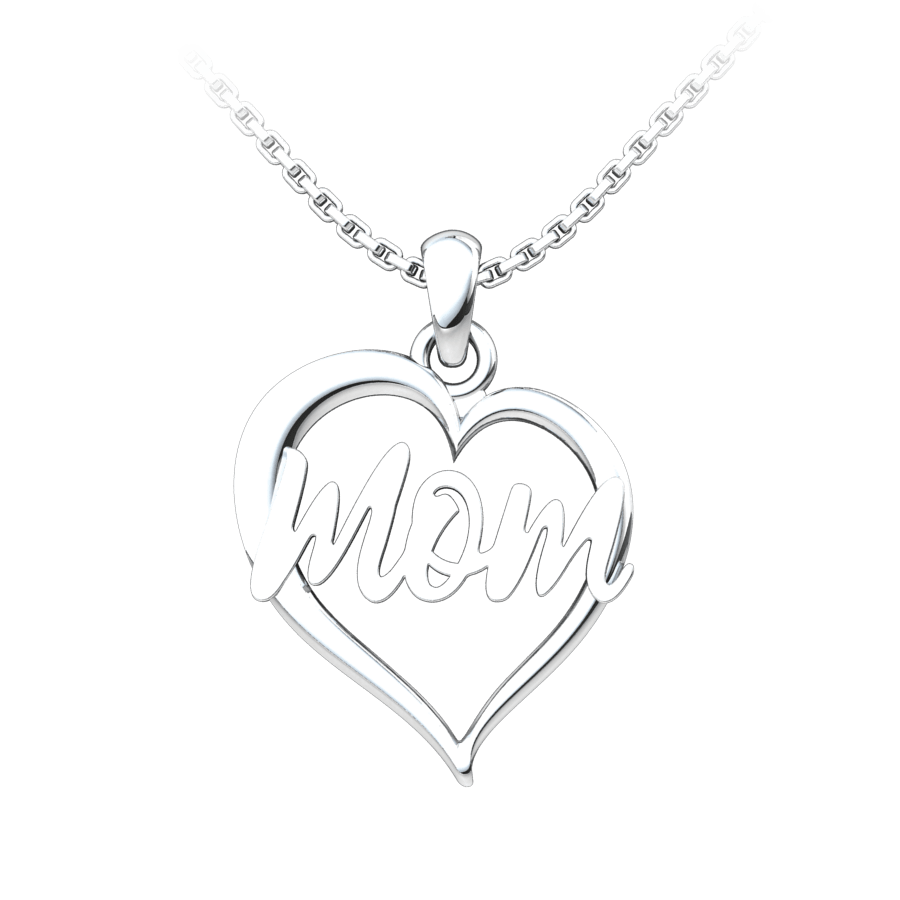 Mom Heart Sterling Silver Pendant on an 18 inch chain