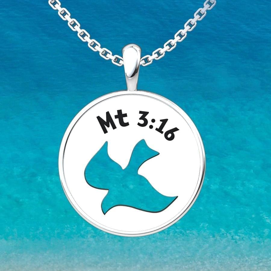 Holy Spirit Dove Sterling Silver Pendant with 18 inch with an ocean background