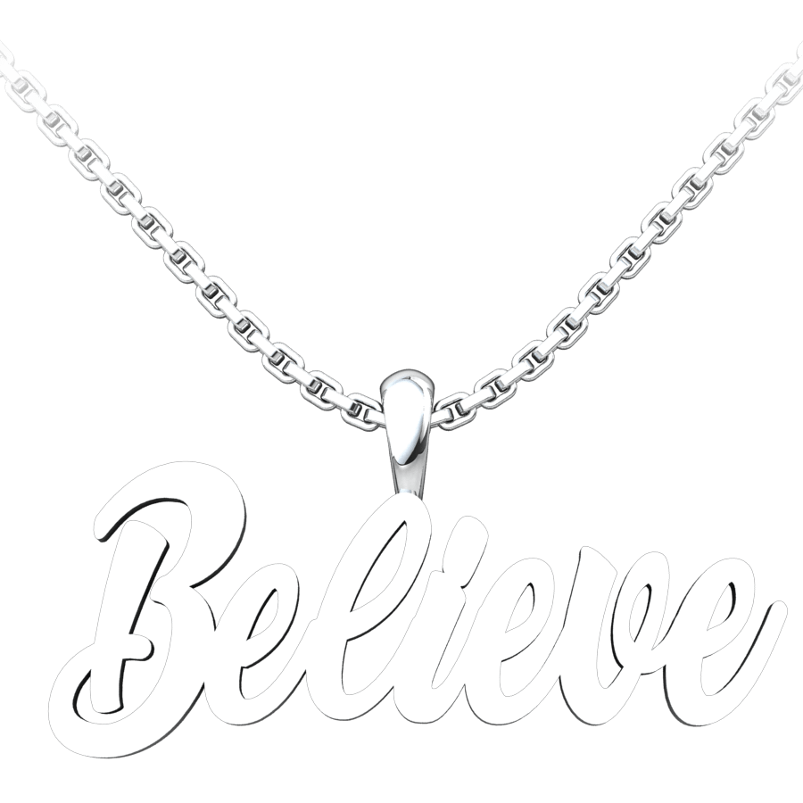Believe Sterling Silver Pendant with a 18 inch chain