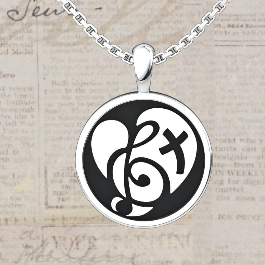 Logos Jewelry - Sterling Silver Love and Music Pendant - Logos Trading Post, Christian Gift