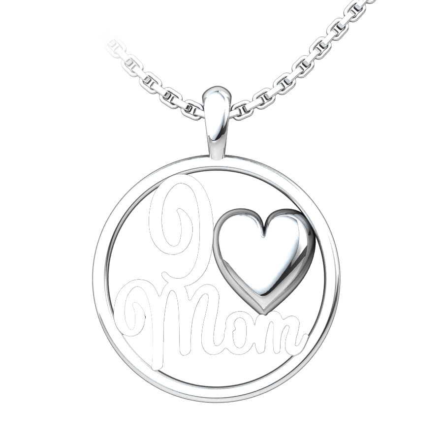 I Heart Mom Sterling Silver Pendant with 18 inch chain