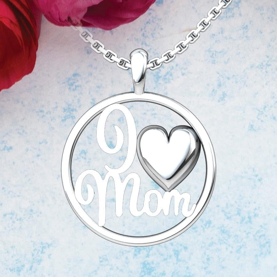 I Heart Mom Sterling Silver Pendant on a blue background with roses