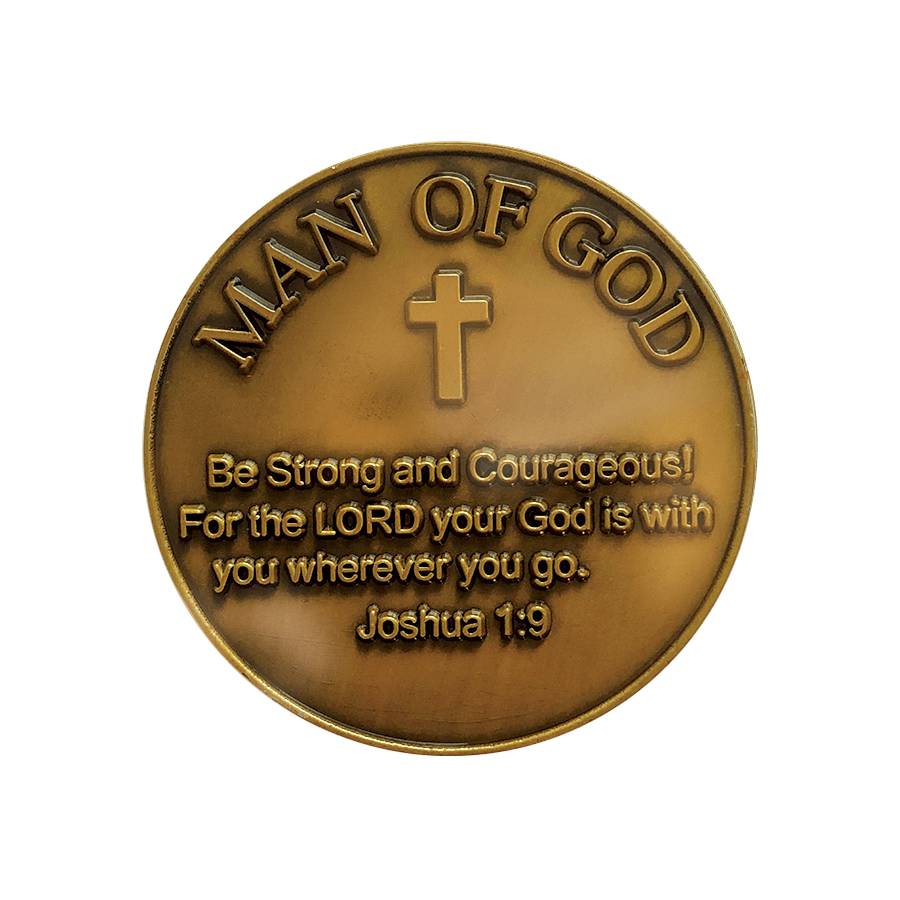 "Antique Gold Plated Christian Challenge Coin, Lion of Judah Man of God, ""Be Strong and Courageous"" - Joshua 1:9 - Logos Trading Post, Christian Gift"