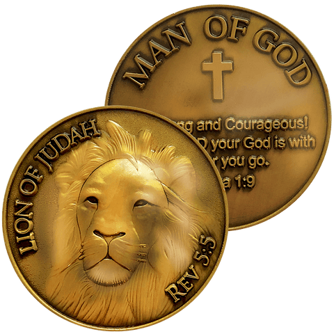 Front and back of Lion of Judah Antique Gold Plated Christian Challenge Coin