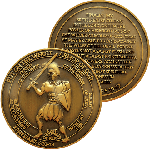 "Antique Gold Plated Christian Challenge Coin, Armor of God, ""Not Against Flesh and Blood"" - Ephesians 6:10-18 - Logos Trading Post, Christian Gift"