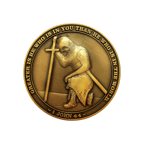 Antique Gold Plated Christian Challenge Coin, The Task Ahead,
