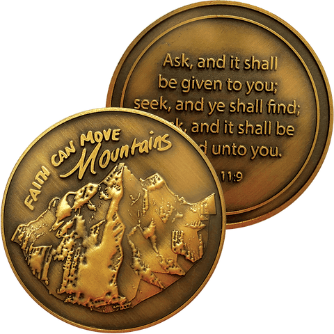 Faith Can Move Mountains Antique Gold Plated Christian Challenge Coin front and back