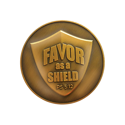 Blessings Antique Gold Plated Challenge Coin, The Lord's Favor As a Shield.