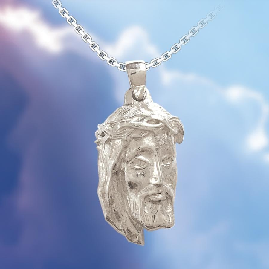 Jesus Savior Relief Sterling Silver Pendant in the clouds