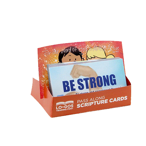 Children's Pass Along Scripture Cards - Be Strong, Pack of 25 - With Stand