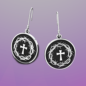 Logos Jewelry - Crown of Thorns and Cross, Sterling Silver Earrings - Logos Trading Post, Christian Gift