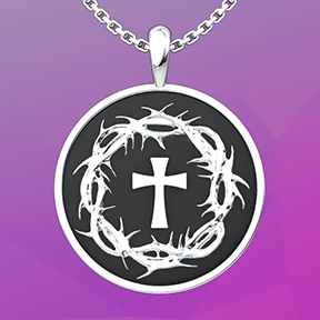 Crown of Thorns and Cross Sterling Silver Necklace on an 18 inch chain with a gradient purple background