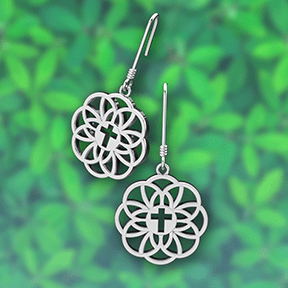 Logos Jewelry - Flourish Cross, Sterling Silver Earrings - Logos Trading Post, Christian Gift